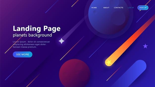 Modelo de página de destino para sites ou aplicativos com espaço aberto