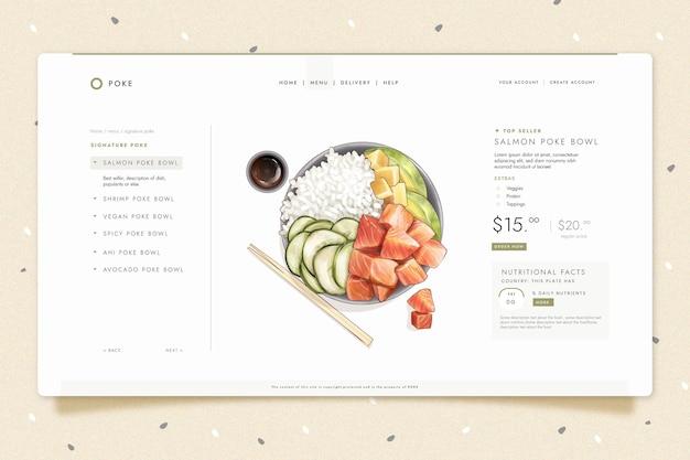 Modelo de página de destino para sushi bistrô