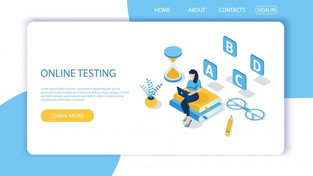 Modelo de página de destino para testes on-line