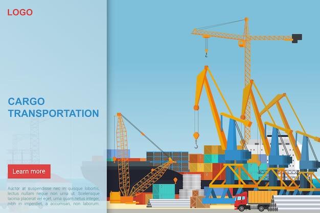 Modelo de página de destino para transporte de carga, empresa de logística, entrega de navio
