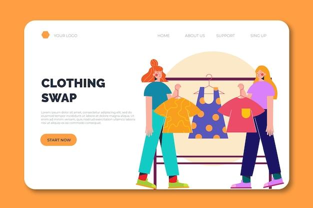 Modelo de página de destino para troca de roupas entre pessoas
