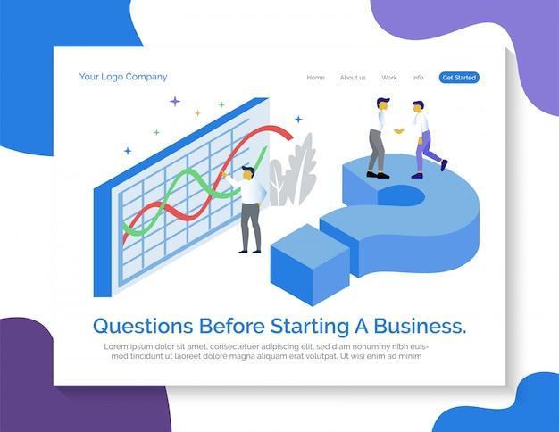 Modelo de página de destino. perguntas antes de iniciar um negócio.
