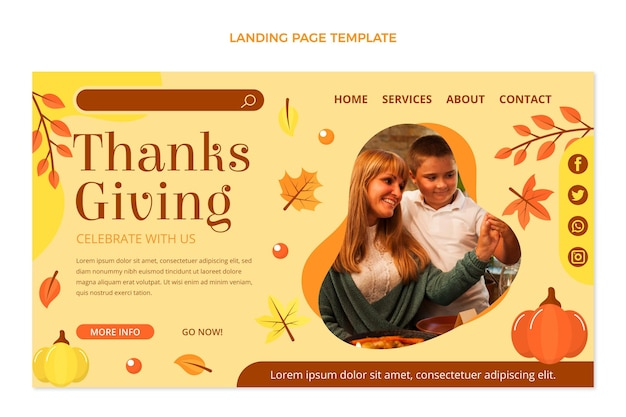 Modelo de página de destino plana de ação de graças