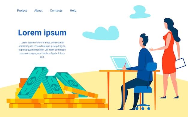 Modelo de página de destino plana de especialistas em investimento