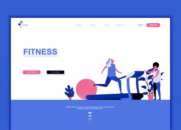 Modelo de página de destino plana de fitness