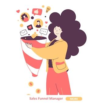 Modelo de página de destino plana de gerente de funil de vendas