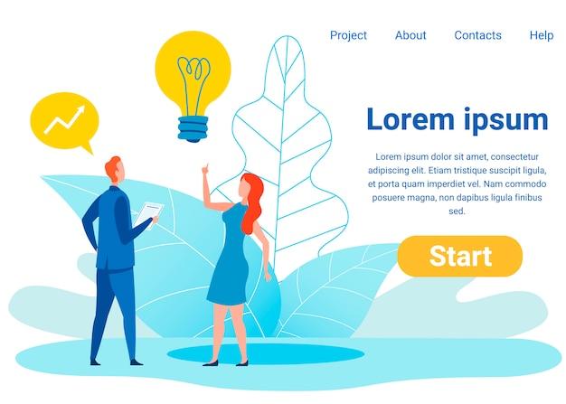 Modelo de página de destino plana de idéias de investimento