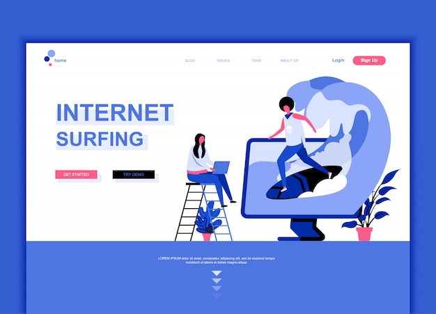 Modelo de página de destino plana de internet surf