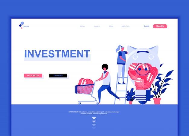 Modelo de página de destino plana de investimento empresarial
