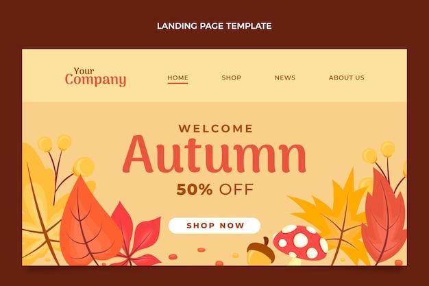 Modelo de página de destino plana de outono