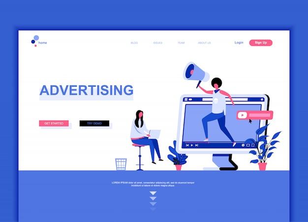 Modelo de página de destino plana de publicidade