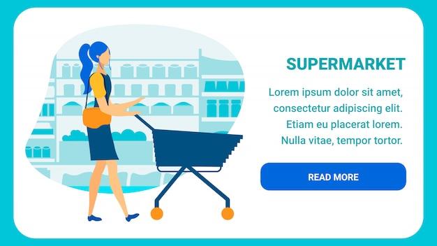 Modelo de página de destino plana de supermercado on-line