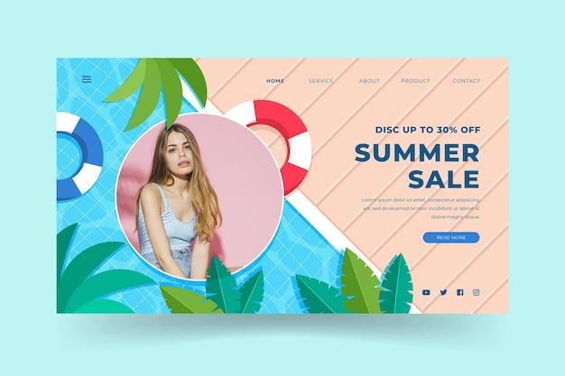 Modelo de página de destino plana de verão com foto