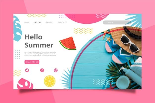 Modelo de página de destino plana de verão