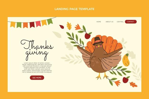 Modelo de página de destino plana desenhada à mão para o dia de ação de graças
