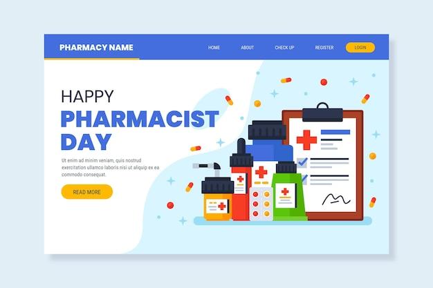 Modelo de página de destino plana do dia do farmacêutico