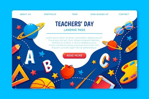 Modelo de página de destino plana do dia dos professores