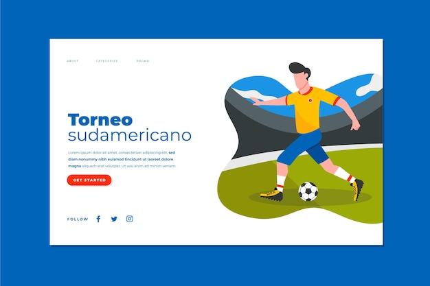Modelo de página de destino plana do futebol sul-americano
