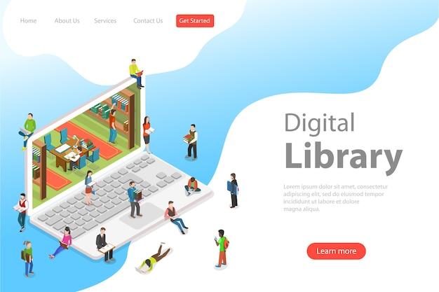Modelo de página de destino plana isométrica de biblioteca online, educação, leitura, aprendizagem online.