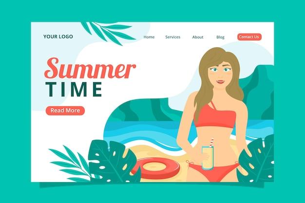 Modelo de página de destino plana orgânica de verão