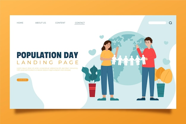 Modelo de página de destino plana orgânica do dia da população mundial