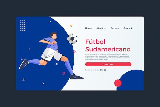 Modelo de página de destino plana orgânica do futebol sul-americano