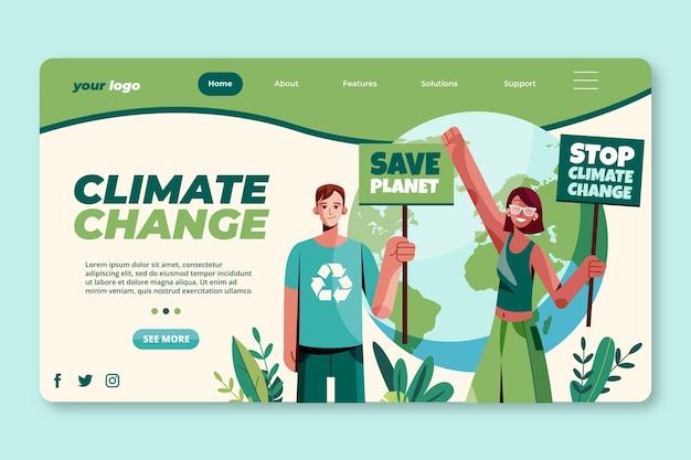 Modelo de página de destino plana para mudanças climáticas