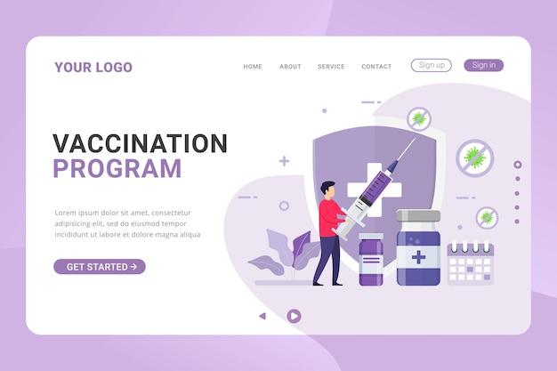 Modelo de página de destino programa de vacinação para saúde imunológica