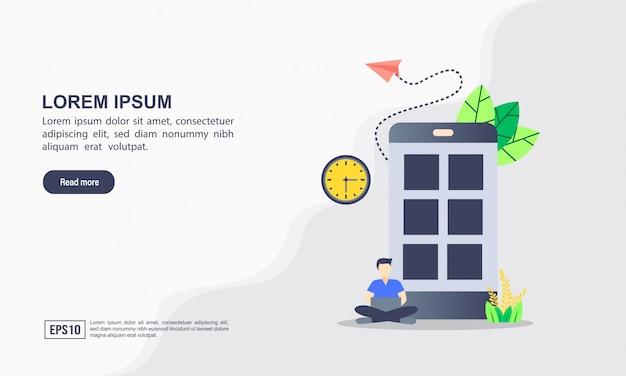 Modelo de página de destino. programação de desenvolvimento web e aplicativo, codificação, linguagens de programação, conceito de ilustração plana