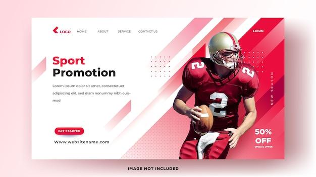 Modelo de página de destino. promoção esportiva