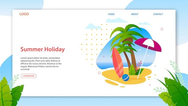 Modelo de página de destino promovendo as melhores férias de verão na ilha tropical. homepage da agência de viagens