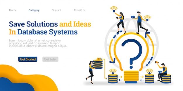 Modelo de página de destino. salvar soluções e idéias no sistema de banco de dados. encontre soluções e armazene-as no banco de dados