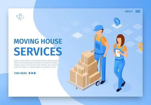 Modelo de página de destino. serviços de mudança de casa.