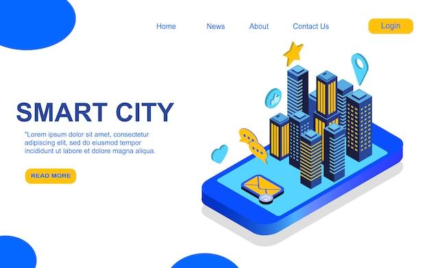 Modelo de página de destino smart city