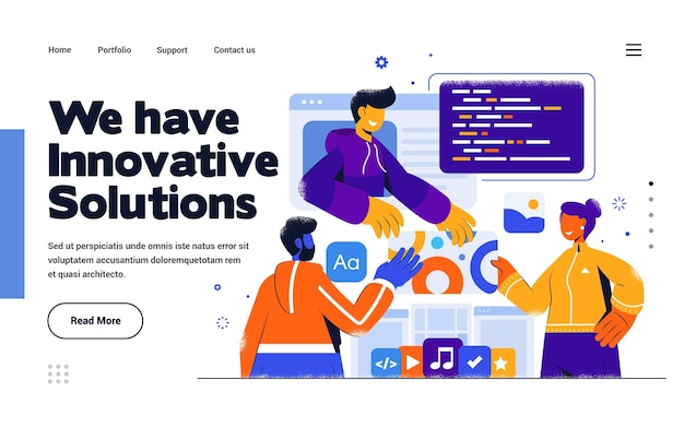 Modelo de página de destino solução inovadora em estilo de design plano