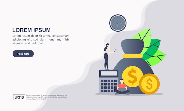 Modelo de página de destino. trabalhando com documentos financeiros. conceito de contabilidade. processo de organização, análise, pesquisa, planejamento, relatório, análise de mercado. vetor de estilo simples