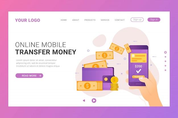 Modelo de página de destino transfere dinheiro online