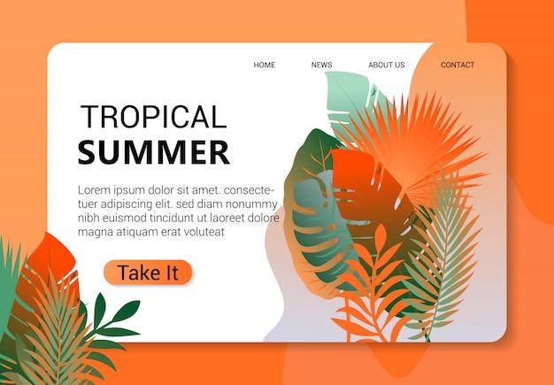 Modelo de página de destino tropical verão