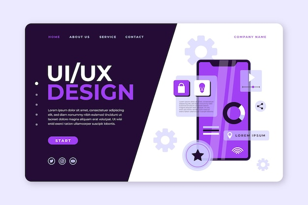 Modelo de página de destino ui ux de design plano