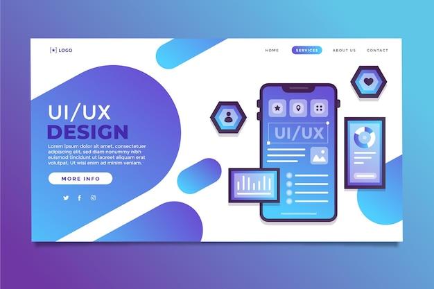 Modelo de página de destino ui / ux gradiente