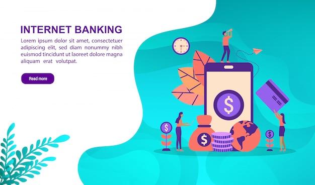 Modelo de página de destino. vector o conceito da ilustração do internet banking com caráter.