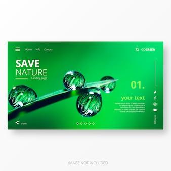 Modelo de página de destino verde