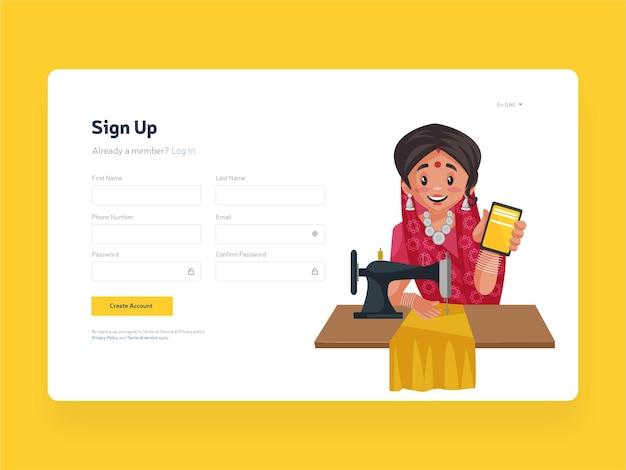 Modelo de página de inscrição na web