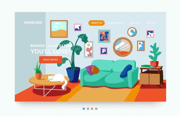 Modelo de página de interior de uma sala de estar com plantas