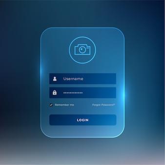 Modelo de página de login em estilo vidro