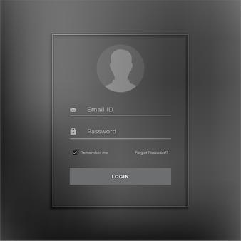 Modelo de página de login preto em estilo minimalista