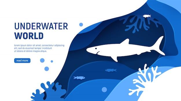 Modelo de página de mar de corte de papel com tubarões, ondas, peixes e recifes de coral.