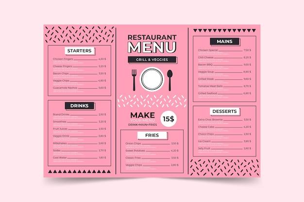 Modelo de página de menu minimalista rosa