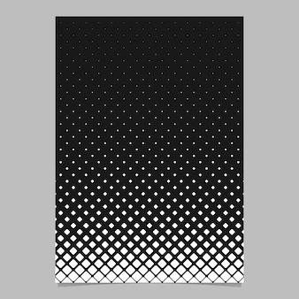 Modelo de página de padrão de grade quadrada diagonal monocromática abstrata - folheto vetorial preto e branco design de fundo