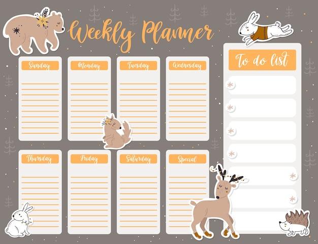 Modelo de página de planejador semanal de natal, lista de itens de ano novo em estilo cartoon